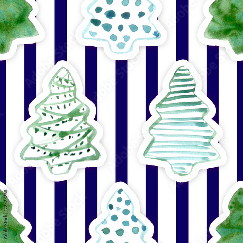 Seamless Pattern With Hand Drawn Watercolor Christmas Tree On