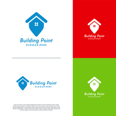 Building Point logo designs concept vector, House Point logo template