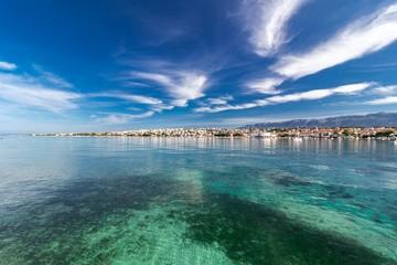 Amazing turquoise view of town of Novalja, Pag island, Croatia