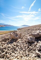 Rucica beach view on the island of Pag in Croatia