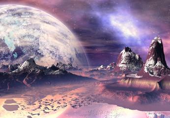 Garden Poster 3D Rendered Fantasy Alien Landscape - 3D Illustration