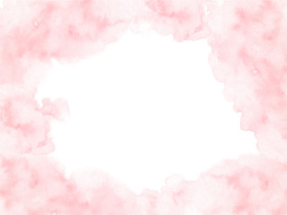 Hand painted pink watercolor border texture with soft edges isolated on the white background. Vector backdrop frame usable for cards and wedding invitations design in loose style.