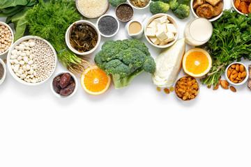 calcium vegetarians Top view healthy food clean eating