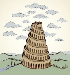 Tower of Babel. Vector drawing