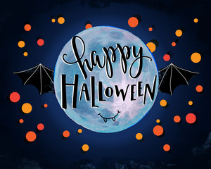Digital Iillustration of  happy halloween lettering on a lunar watercolor background with a bat and confetti.
