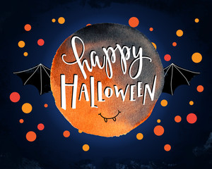 Digital illustration of  happy halloween lettering, bat and confetti on watercolor background.