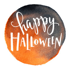 Digital Iillustration of  happy halloween lettering on a watercolor background with a bat and confetti.
