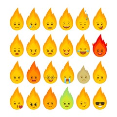 Fire flame funny emoticons isolated set. Romantic, love, laugh, happy blazing bonfire emoji symbols. Social communication and chatting vector elements. Campfire smile face with facial expression