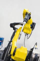 Modern robot arm closeup photo