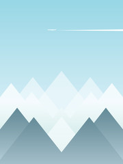 Abstract winter landscape vector postcard with snowy mountains and blue sky with plane flying over. Winter and Christmas holiday season banner, poster.
