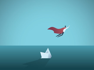 Business superhero flying away from a sinking ship. Symbol of leadership, strength, courage, confidence and success.
