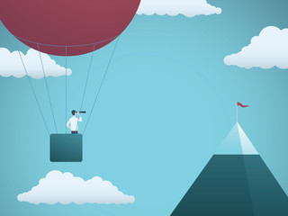 Business objective and challenge vector concept. Businessman in balloon flying towards mountain with flag. Symbol of business target, mission, strategy, opportunity.
