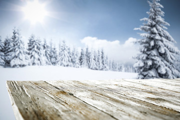 Table background of free space for your decoration and winter time