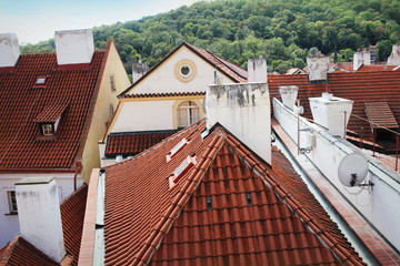 Panorama of red roofs skyline of Prague city Czech republic