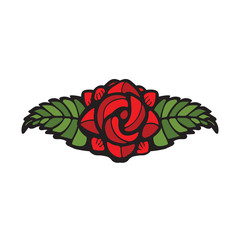 Single Rose Decoration in stained glass style