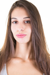 Cheerful good-looking young caucasian woman with dark long hair portrait