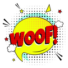 Comic lettering WOOF! in the speech bubble comic style flat design. Dynamic retro vintage pop art illustration isolayed on white background. Exclamation WOOF!