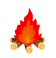 Campfire vector icon illustration