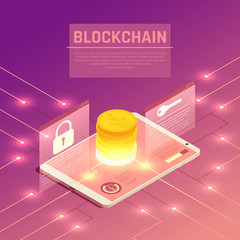 Electronic Currency Isometric Background