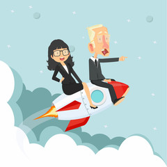woman and man Sitting On on a Flying rocket