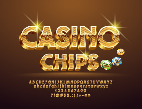 Vector Golden pattern text Casino Сhips with Illustration. Luxury 3D Font. Sparkling elegant Alphabet Letters, Numbers and Symbols