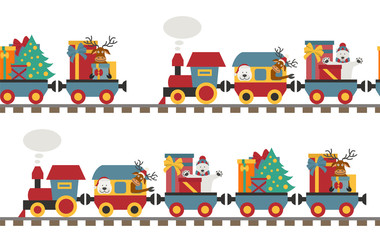 Christmas train with bear, reindeer, gifts. Seamless pattern for children