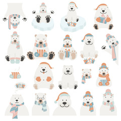 Cute polar bear sticker set. Elements for christmas holiday greeting card, poster design