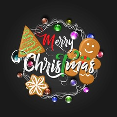 Christmas lettering design with cookies. Typographical background.