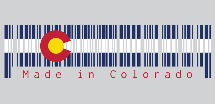 "Barcode set the color of Colorado flag, Three horizontal stripes of blue, white, and blue. On top of these stripes sits a circular red ""C"", filled with a golden disk. text: Made in Colorado."