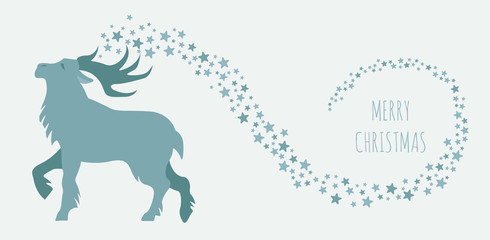 Fairy reindeer in the forest.  Elements for christmas holiday greeting card, poster design