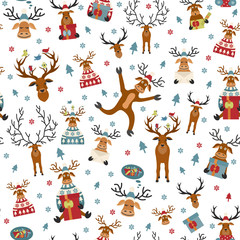 Cute reindeer flat seamless pattern. Elements for christmas holiday greeting card, poster design