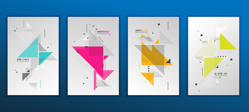 Abstract geometric composition forms modern background with decorative triangles and patterns backdrop vector illustration set