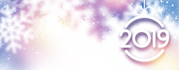 Blurred lilac 2019 New Year banner with snowflakes.