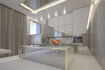 Glossy kitchen cabinets in modern kitchen room , 3d rendering