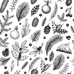 Christmas seamless pattern in vintage style. Vector hand drawn illustrations. Background with coniferous, pine branches, berries, holly, mistletoe. Winter forest backdrop. Merry Christmas banner.