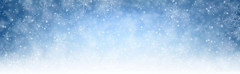Blue shiny winter banner with snow.