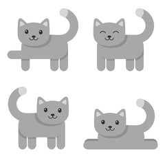 Set of cute cat icons isolated on white