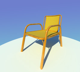 Comfortable wooden armchair 3D illustration on gradient blue background. Curved polished hardwood, bamboo crocheted seat and back.Collection.