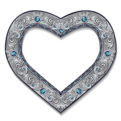 frame in the shape of heart with blue topaz