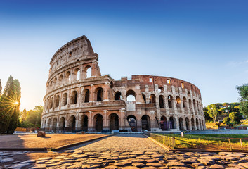 Rome, Italy. The Colosseum or Coliseum at sunrise. Wall mural