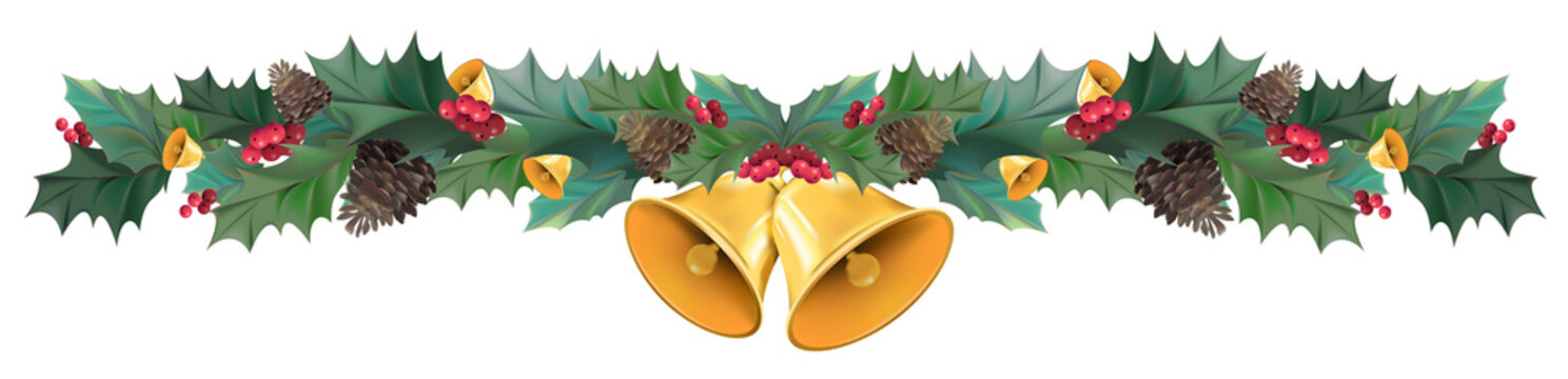 Illustration of Christmas wreath bow