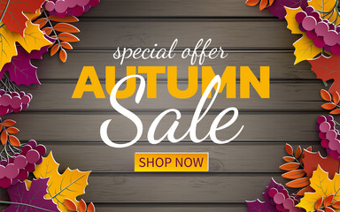 Autumn sale banner, 3d paper colorful tree leaves on wooden background. Autumnal design for fall season sale banner, special offer poster, flyer, web site, paper cut art style, vector illustration