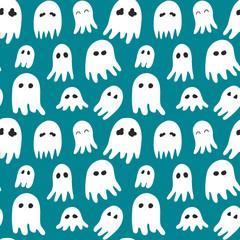 Halloween pattern with cute cartoon ghosts
