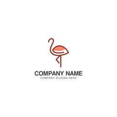 Flamingo bird logo design vector template