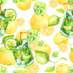 Seamless watercolor pattern with a drink, cocktail with lemon, ice, mojito, smoothies. 
