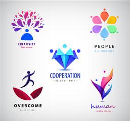 Vector set logos. Creative team, creative mind, people together, business meeting, social net