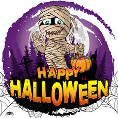 Happy Halloween Design template with mummy. Vector illustration.