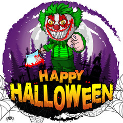 Happy Halloween Design template with evil clown. Vector illustration.