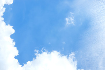 The vast blue sky and clouds sky, Blue sky with clouds with the copy space at the middle of the photo, abstract background