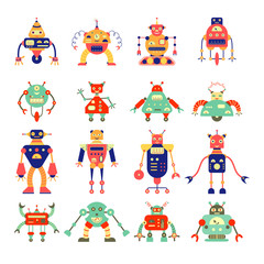 Cartoon different robot collection in retro color. Can be used for children's production